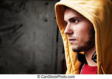 joven, hombre, retrato, grafiti, Grunge, pared