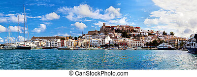 Panorama of Ibiza, Spain - Panorama of Ibiza old city -...