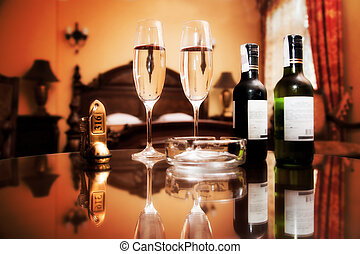 Luxury interior - hotel room with elegant service Wine,...