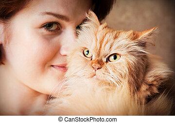 肖像画, 女, イラン人, 若い, ネコ