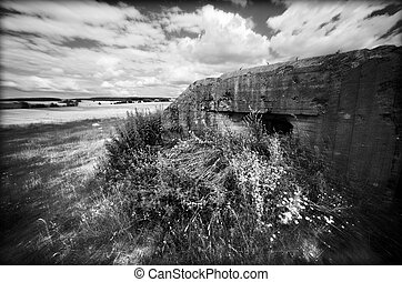 Bunker from WWII. Mlawa, Poland - The concete bunker,...