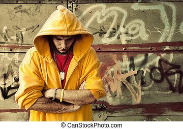 joven, hombre, encapuchado, Sweatshirt, Grunge, pared