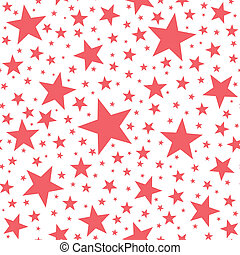 Seamless Star Pattern - Coral red stars on white background....
