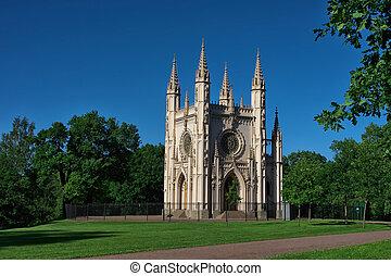 gótico, capela, (Peterhof)