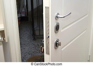 Nyílik, biztonság, ajtók