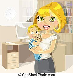 Pretty business mom with baby boy in office