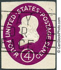 USA - 1952: shows President Benjamin Franklin