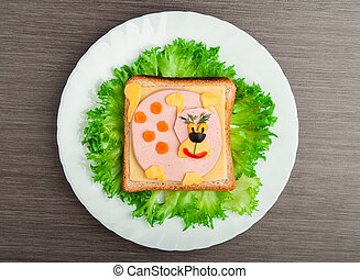 design food Creative sandwich for a child with a picture...