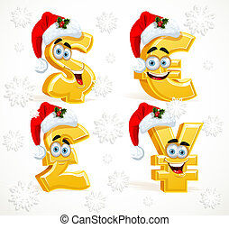Christmas Monetary signs smiling emoticons - dollar, pound,...