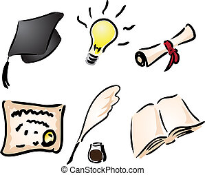 Education and learning icons assorted clipart illustration