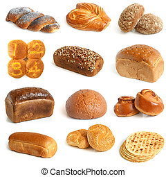 Bread collection on a white background