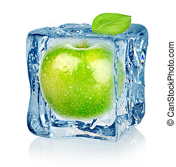 Ice cube and apple isolated on a white background