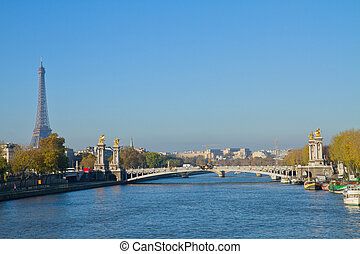 Alexandre III Bridge and Eiffel tower, Paris - Alexandre III...