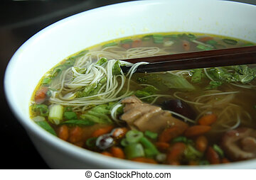 Herbal soup - Noodles in herbal soup traditional chinese...