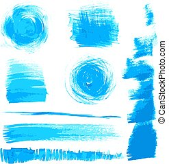 blue strokes painted by brush - Vector beautiful handmade...