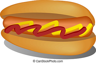 Hotdog illustration, sausage between buns with ketchup and...