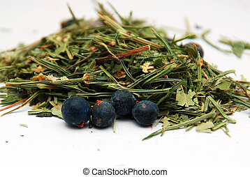 herbs and blue berries