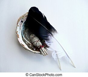 Ceramonial abalone shell with sage - Native American...