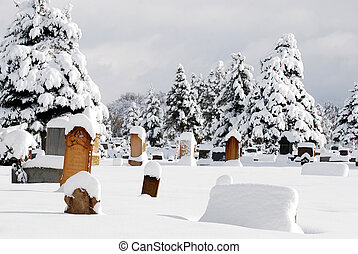 Cemetary in Deep Snow - Cemetary covered in fresh deep snow