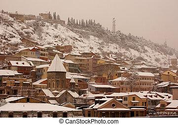 ville, brumeux, vieux, hiver, neige, tbilisi, couvert, jour,...