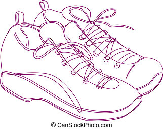 Sneakers Sketch - Sketching of a pair of sneakers in purple...
