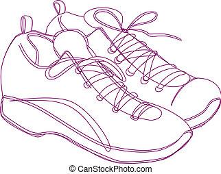 Sneakers Sketch - Sketching of a pair of sneakers in purple...