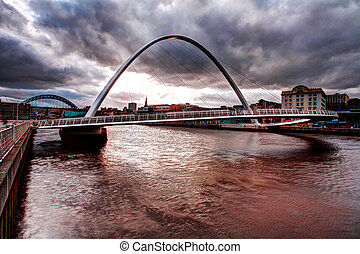 Tyne river millenium bridge - famouse foot bridge over...
