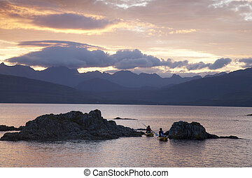 Canoes in the Cuillin Hills, Isle of Skye, Scotland, UK