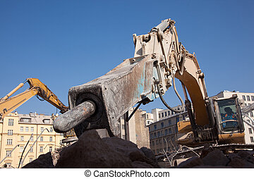 Hydraulic hammer - Detail of hydraulic hammer at excavator...