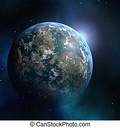 Earthlike planet - Space nebula starfield abstract...