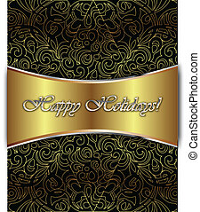 Happy Holidays Vector Card - Happy Holiday Elegant...