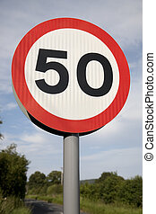 Fifty Speed Limit Sign in Rural Setting