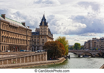 Paris: a view of a palace on Seine Embankment