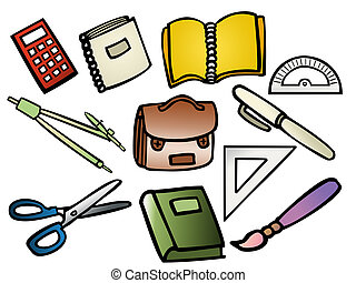School supplies - Vector based illustrations of school...
