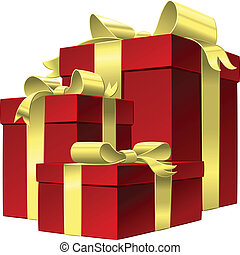 Vector set red gift box with gold ribbon bow, isolated on...