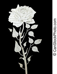 cut-out rose - metal rose on a black background, cut-out