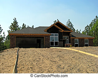 house construction - new house under construction in the...