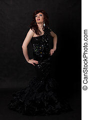 Portrait of drag queen Man dressed as Woman - Full length...