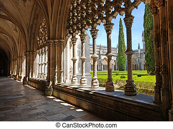 Old monastery and garden, Batalha, Portugal - Stone cloister...