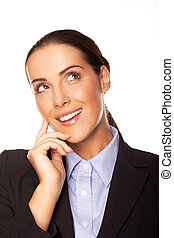 Attractive businesswoman planning her strategy