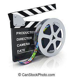 Clapper board and reel with filmstrip - Cinema, movie, film...