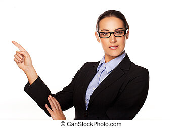 Confident business executive pointing - Confident stylish...