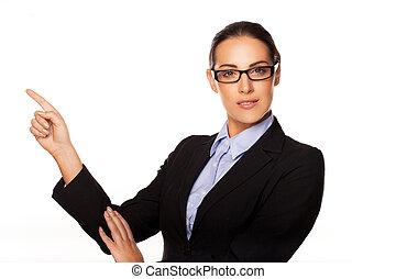 confiante, negócio, executivo, apontar