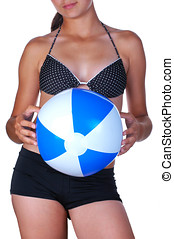 Girl with Beach Ball - Girl Holding Beach Ball in front of...