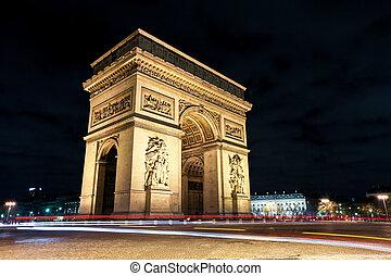 Arc de Triomphe at night Paris