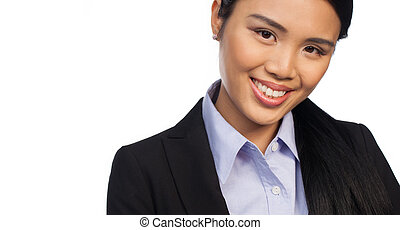 Cropped portrait of an Asian businesswoman - Cropped head...