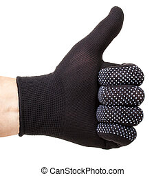 Thumb up symbol - hand with black fabric glove showing thumb...