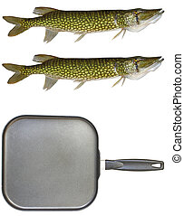 A large non-stick square frying pan with two chain pickerel...