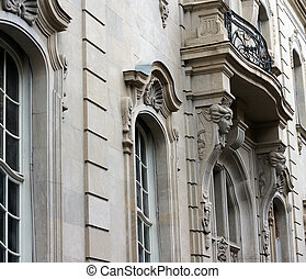 Details of Art-Nouveau facades and building decor in Tbilisi...