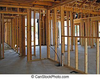 house framework - framing a new house in the suburbs